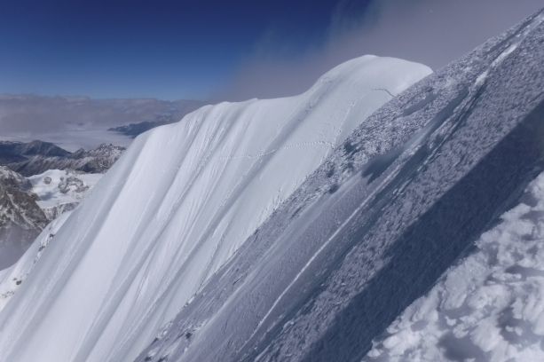 my old track on the last traverse to arrive at the summit
